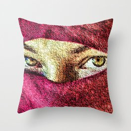 Little Wanderer in hijab painting portrait - Jeanpaul Ferro Throw Pillow