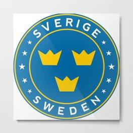 Sweden, Sverige, 3 crowns, circle Metal Print