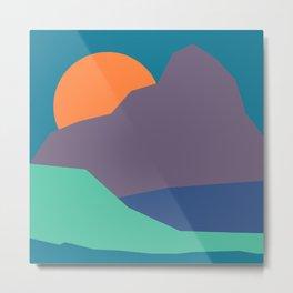 Paper-cut Mountain Sunset Metal Print