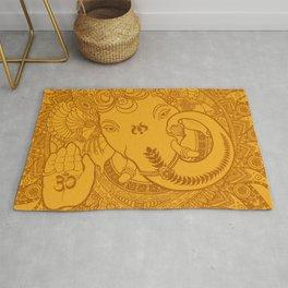 Ganesha Lineart Yellow Rug