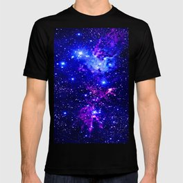 Fox Fur Nebula Galaxy blue purple T-shirt