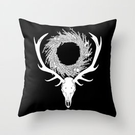 Scottish Red Deer Skull with Heather and Thistle Wreath (white) Throw Pillow