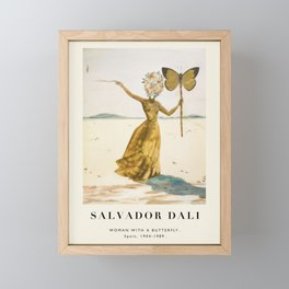 Vintage poster-Salvador Dali-Woman with a butterfly.  Framed Mini Art Print