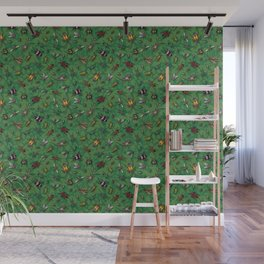 Bugs & Insects on Green Floral Background Wall Mural