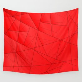 Tinted contrasting red fragments of crystals on triangles of irregular shape. Wall Tapestry