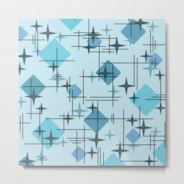 MidCentury Modern Pattern Blue Metal Print