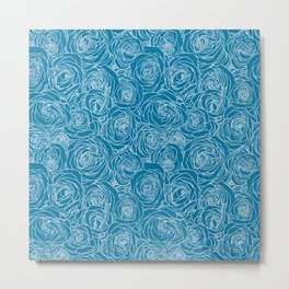 Mosaic Blue Roses Metal Print