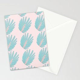 Turquoise Twice-Pinnated Leaves Pattern Stationery Cards
