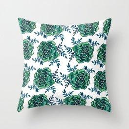 Watercolor houseleek - emerald Throw Pillow