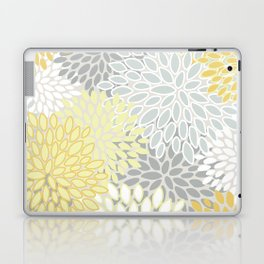 Floral Prints, Soft, Yellow and Gray, Modern Print Art Laptop & iPad Skin