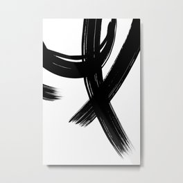 Black Abstract Brush Strokes nr 1 Metal Print