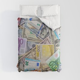 money texture. Euro and Dollars Comforters