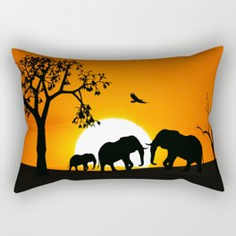 Elephant silhouettes at sunset Rectangular Pillow