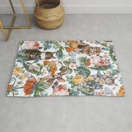 Cat and Floral Pattern III Rug