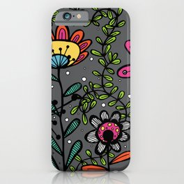 Weird and wonderful (Garden) - fun floral design, nature, flowers iPhone Case