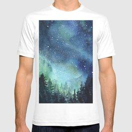 Galaxy Watercolor Aurora Borealis Painting T-shirt