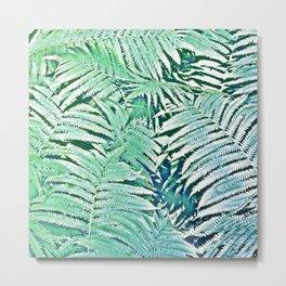 Blue Green Ferns Rough Pastel  Texture Pattern Metal Print