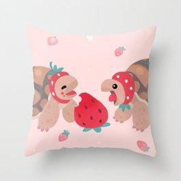 Tortoises love strawberries Throw Pillow