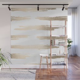 Simply Brushed Stripe White Gold Sands on White Wall Mural