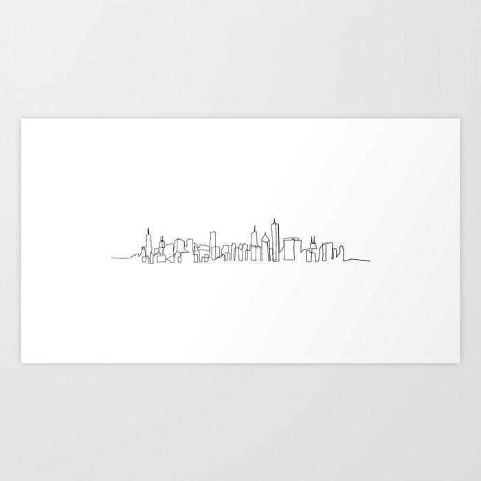 Chicago Skyline Drawing Kunstdrucke