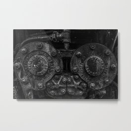 Who Stokes the Stoker Steam Engine Detail Vintage Train Photography Black and White Metal Print