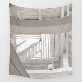 WHITE WOODEN STAIRCASE WITH WHITE WOODEN RAILINGS Wall Tapestry