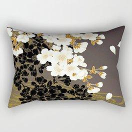 Japanese Sumi Black and White Cherry Blossom Rectangular Pillow