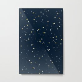 Gold & Silver Stars on Navy Blue pattern Metal Print