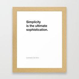 Da Vinci quote about simplicity [White Edition] Framed Art Print