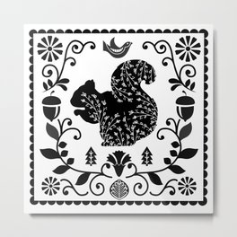 Woodland Folk Black And White Squirrel Tile Metal Print