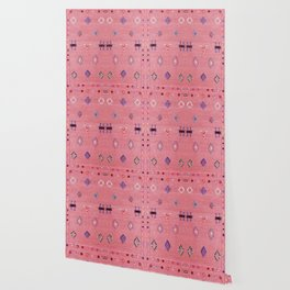 N61 - Lovely Pink Traditional Boho Farmhouse Moroccan Style Artwork Wallpaper