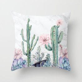 Desert Cactus Succulents + Gemstones on Marble Throw Pillow