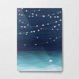 Garlands of stars, watercolor teal ocean Metal Print