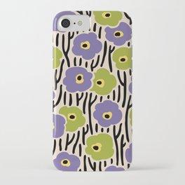 Mid Century Modern Wild Flowers Pattern Purple and Green iPhone Case