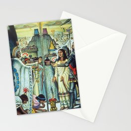 The Meeting of Monteczuma, Malinche, & Cortés 1521, Tenochtitlán by Diego Rivera Stationery Cards