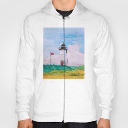 Cape Poge Lighthouse, Martha's Vineyard watercolor Hoody