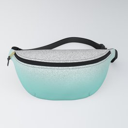 Modern Girly Faux Silver Glitter Ombre Teal Ocean Color Block Fanny Pack