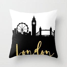 LONDON ENGLAND DESIGNER SILHOUETTE SKYLINE ART Throw Pillow