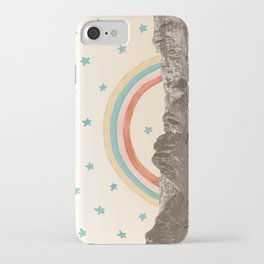 Canyon Desert Rainbow // Sierra Nevada Cactus Mountain Range Whimsical Painted Happy Stars iPhone Case