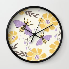 Honey Bees and Flowers - Yellow and Lavender Purple Wall Clock