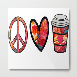 Afro retro Peace Love and Coffee Metal Print