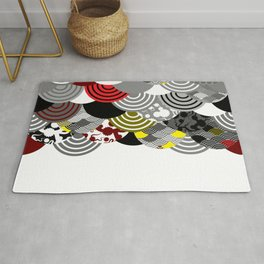 Nature background with japanese sakura flower, Cherry, wave circle Black gray white Red Yellow color Rug