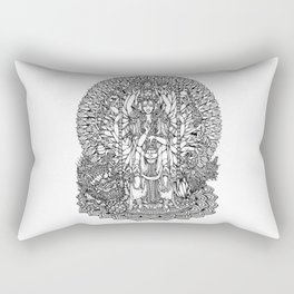 Bodhisattva Avalokiteshvara of Compassion Arms and the Imperial Guardian Lion by Kent Chua Rectangular Pillow