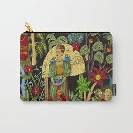 Frida's Garden, Casa Azul Lush Greenery Frida Kahlo Landscape Painting Carry-All Pouch