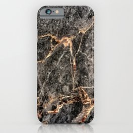 Luxurious Rose Gold Veins and Charcoal-Black Marble iPhone Case