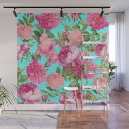 Vintage & Shabby Chic - Summery Rose Flowers Garden Pattern Wall Mural