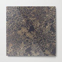 Luxury winter floral golden strokes doodles design Metal Print