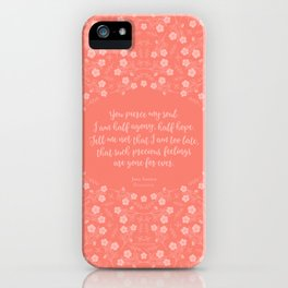 Jane Austen Persuasion Floral Love Letter Quote iPhone Case