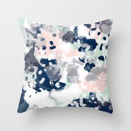 Melia - abstract minimal painting acrylic watercolor nursery mint navy pink Throw Pillow