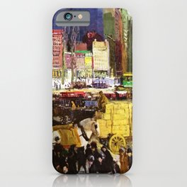 Bustling Big City New York landscape painting by George Wesley Bellows iPhone Case
